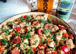 Cooking with beer recipe chicken and chorizo Spanish rice